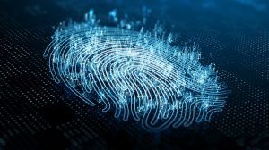 A computer identify and measuring the fingerprint on the digital surface. 3d illustration.