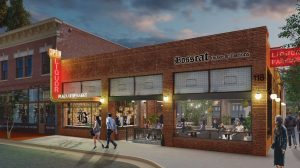 The design of Bosscat Kitchen & Libations will pay homage to the auto repair shop and the liquor store that occupied the building over the course of a century. Rendering courtesy of AO Architects.
