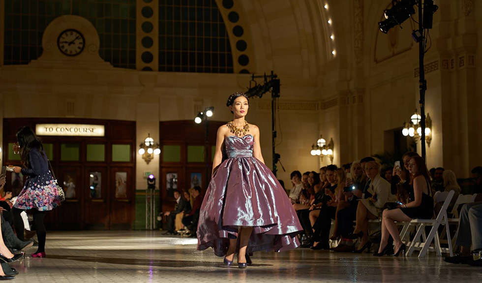 A model walks down the runway at Seattle Fashion Week. Photo courtesy of  Seattle Fashion Week 7b8ad4e6df7ef