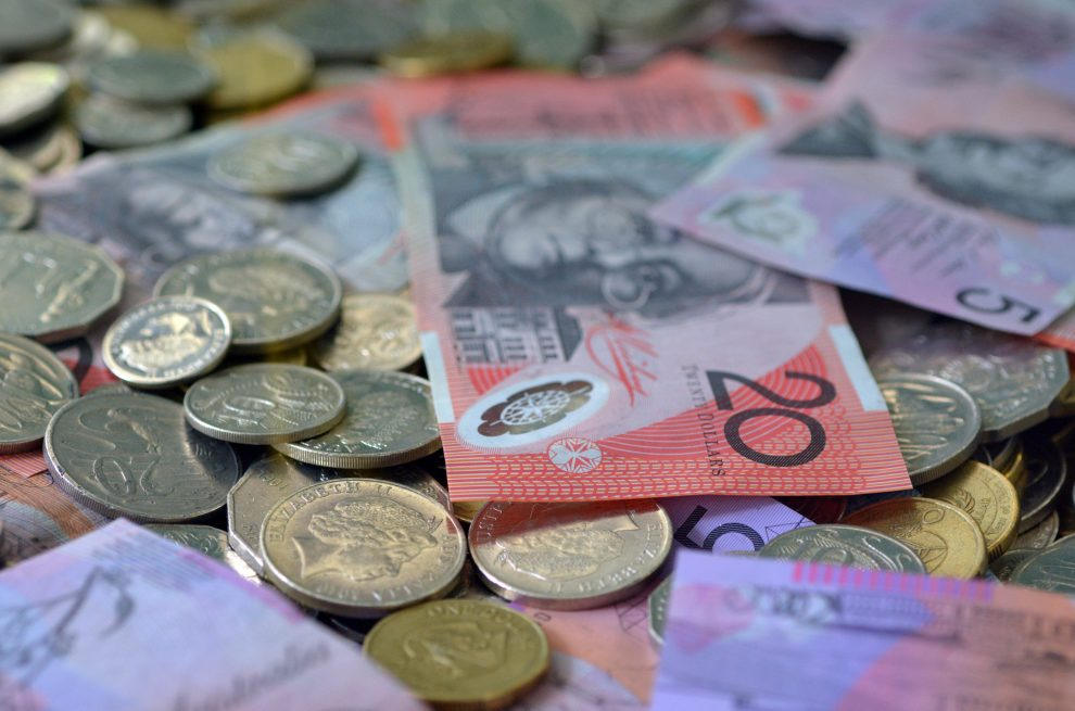 BRISBANE, AUS - NOV 04 2014:Mix of Australian currency.Australia is a developed country and one of the wealthiest in the world, with the world's 12th-largest economy.